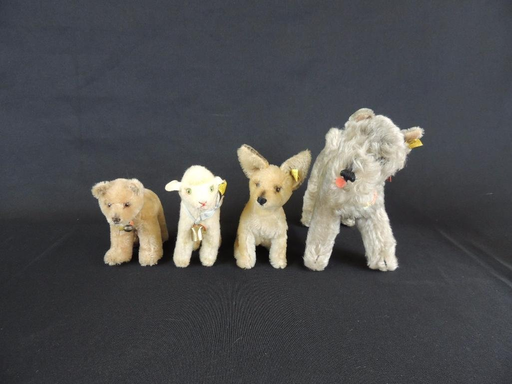 Group of 4 Antique Steiff Animals Featuring Dogs, Lamb,