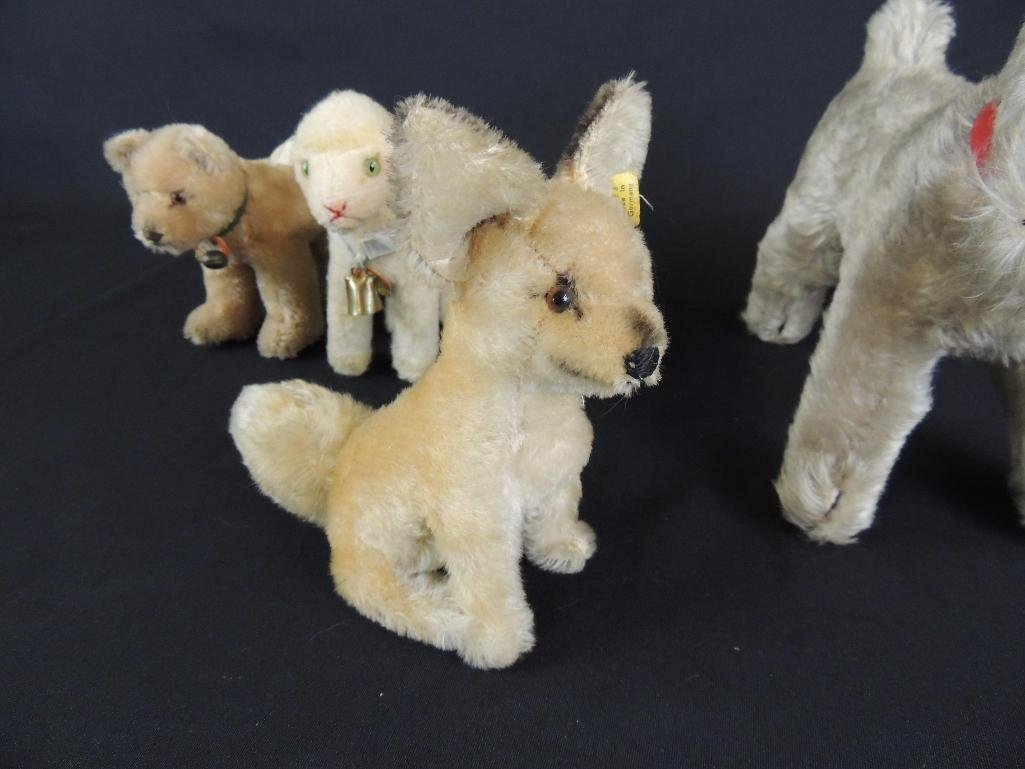 Group of 4 Antique Steiff Animals Featuring Dogs, Lamb, - 5