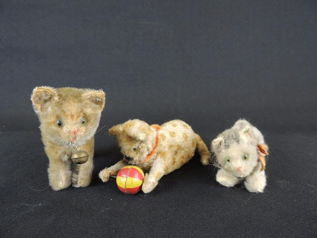 Group of 3 Antique Steiff Cats Featuring Wind-Up Cat