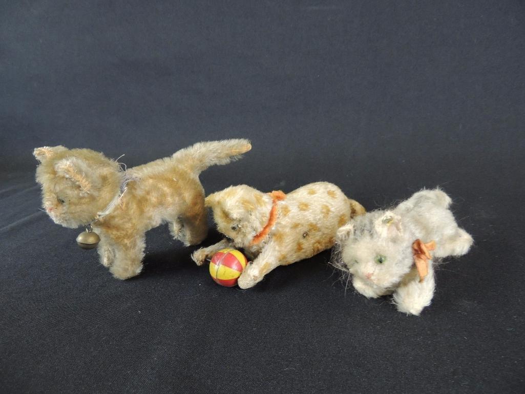 Group of 3 Antique Steiff Cats Featuring Wind-Up Cat - 2