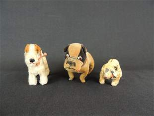 Group of 3 Steiff and Other Dogs Featuring Bulldog and