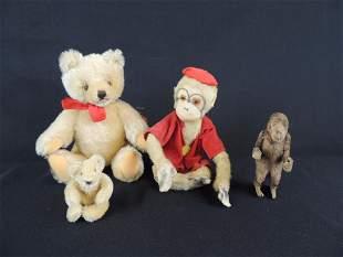 Group of 4 Steiff Bears and Monkeys
