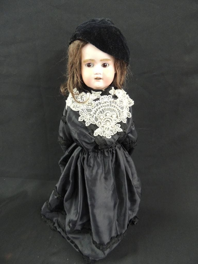 Antique German Made Bisque Doll with Black Dress