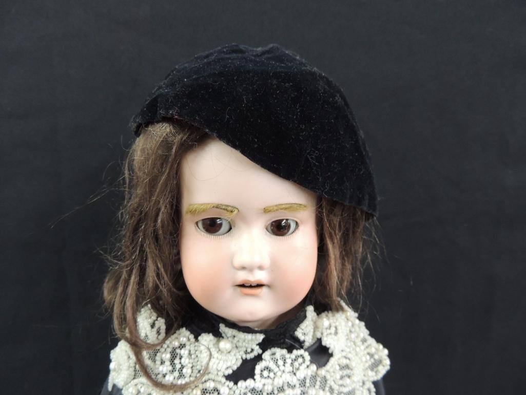Antique German Made Bisque Doll with Black Dress - 2