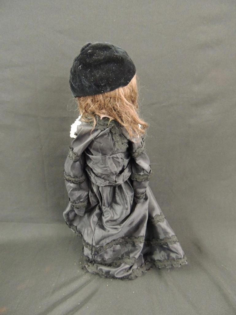 Antique German Made Bisque Doll with Black Dress - 3