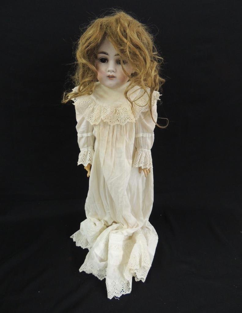 Antique Bisque Doll with White Dress