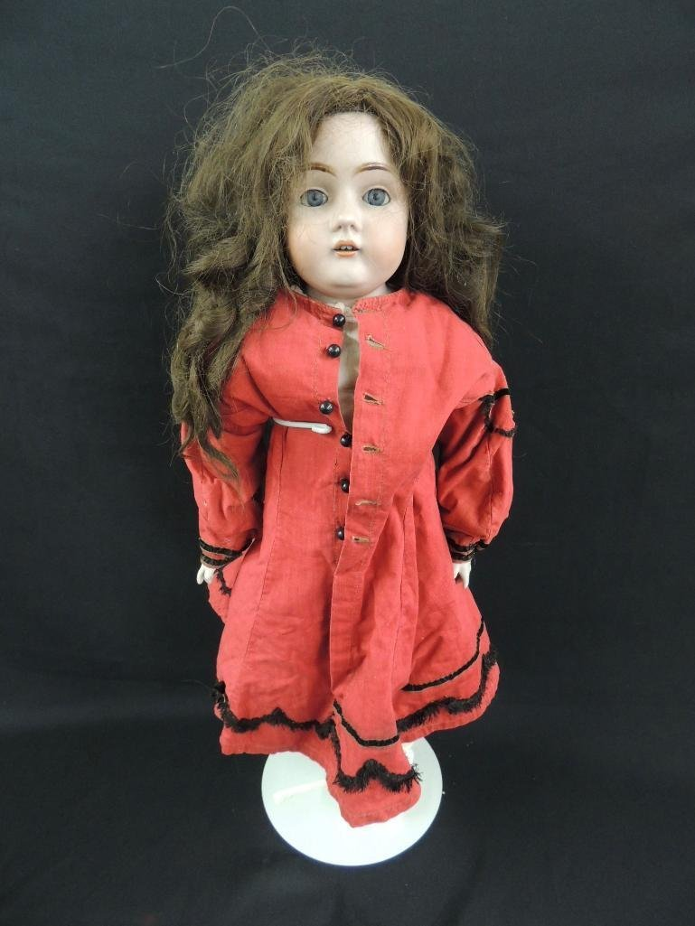 Antique Bisque Doll with Red Dress
