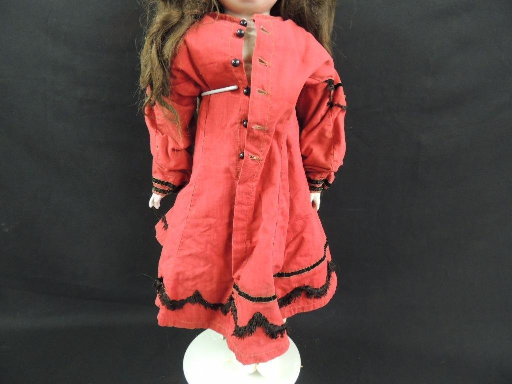 Antique Bisque Doll with Red Dress - 3