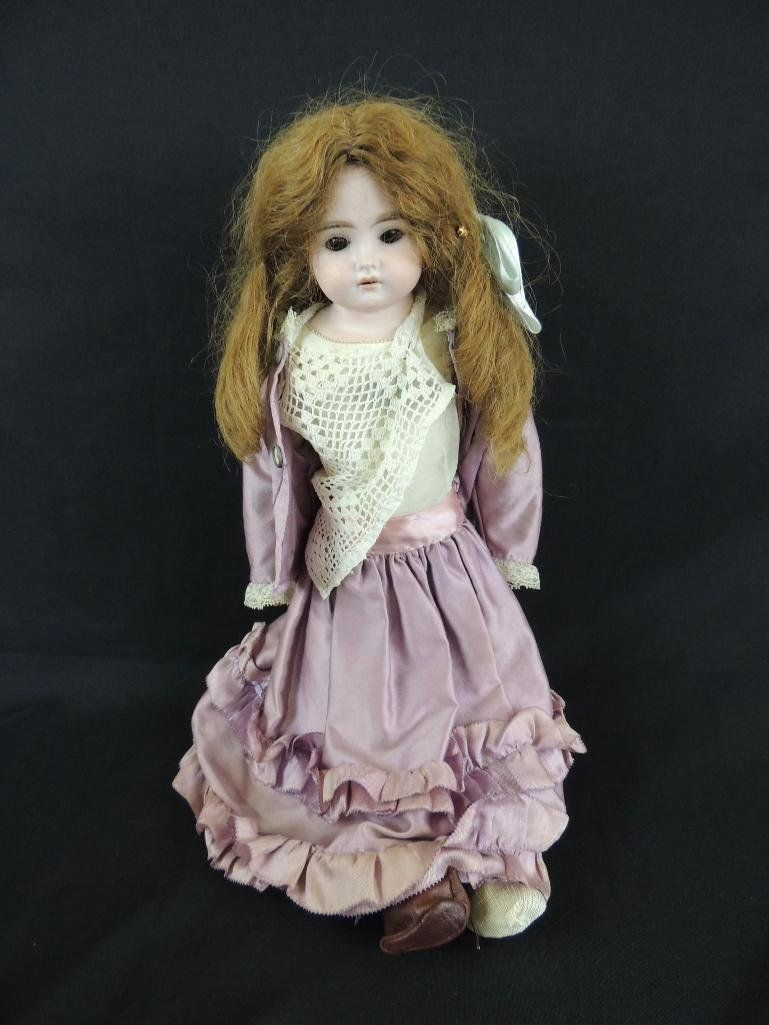 Antique Bisque Doll Marked Darling with Pink Dress
