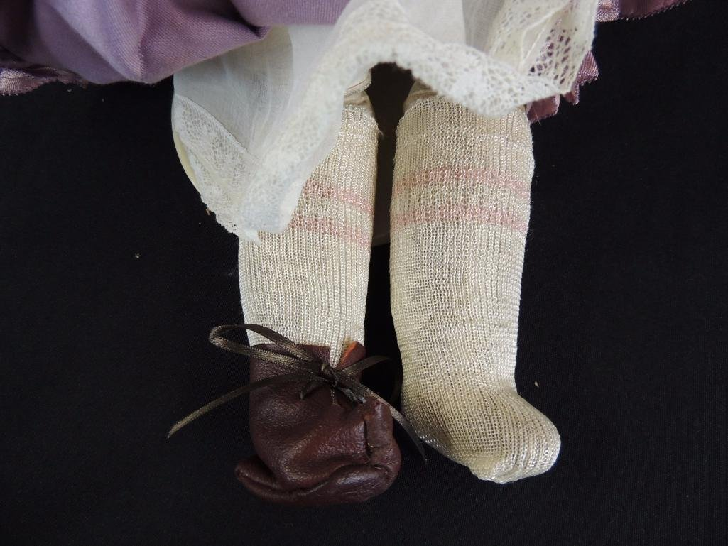 Antique Bisque Doll Marked Darling with Pink Dress - 4