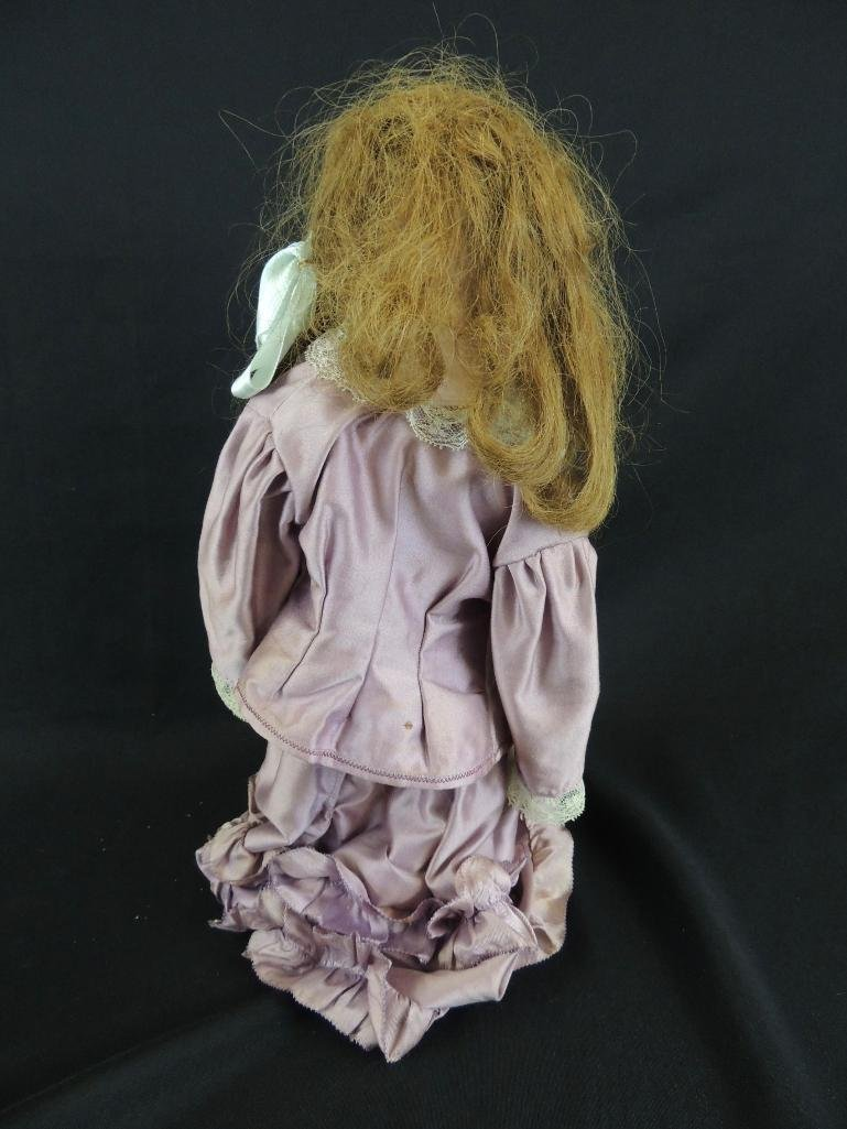 Antique Bisque Doll Marked Darling with Pink Dress - 5