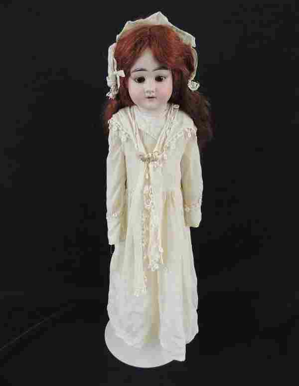 Antique Bisque Doll Marked Hch GH with White Dress and