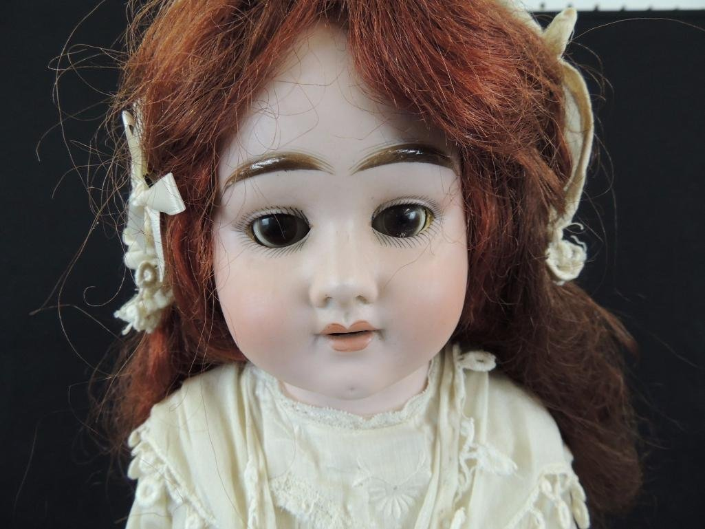 Antique Bisque Doll Marked Hch GH with White Dress and - 2
