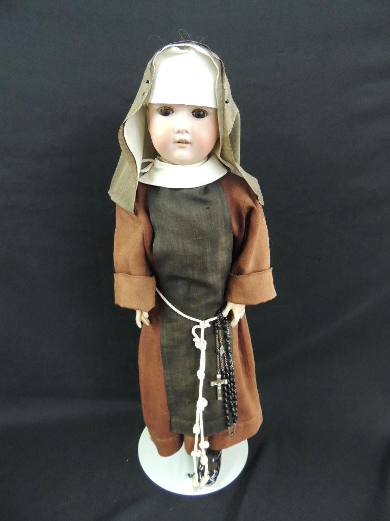 Antique Bisque Socket Head Nun Doll Marked Made in