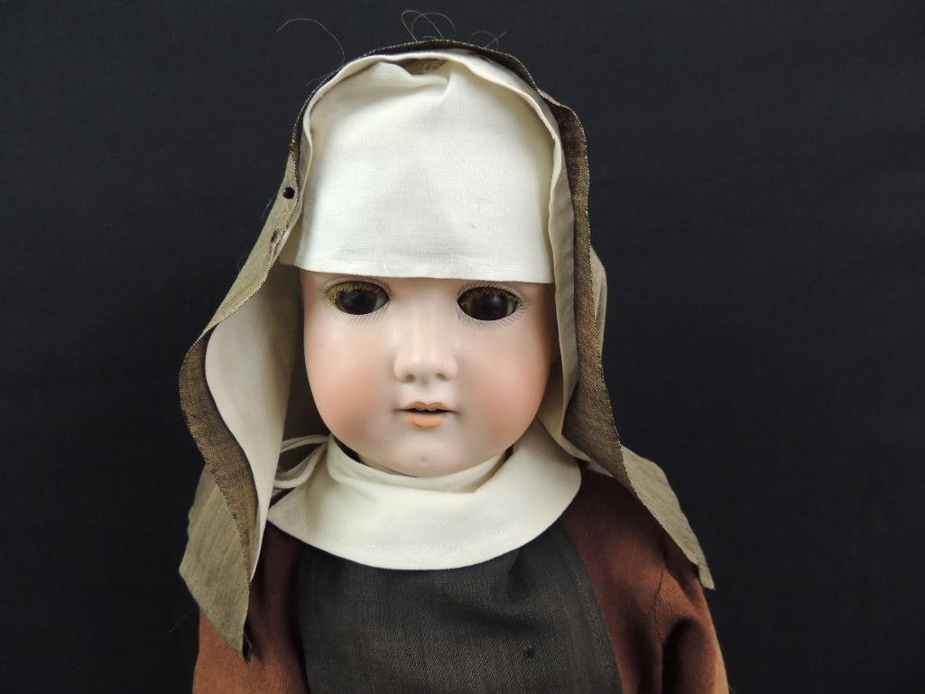 Antique Bisque Socket Head Nun Doll Marked Made in - 2