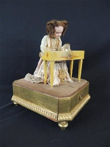 Antique French Mechanical Atomaton Bisque Doll with
