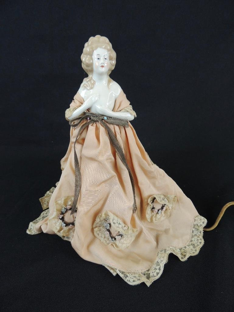 Antique Porcelain Victorian Woman Lamp with Pink Dress