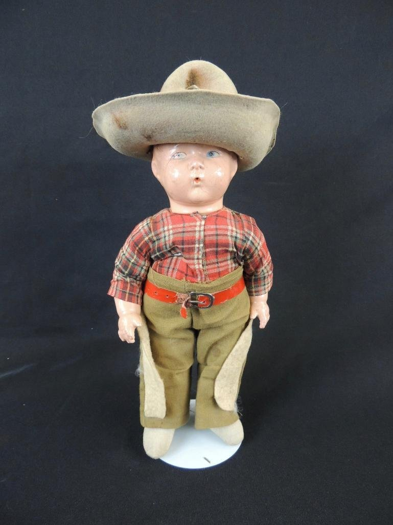 Antique Whistler Composition Cowboy Doll