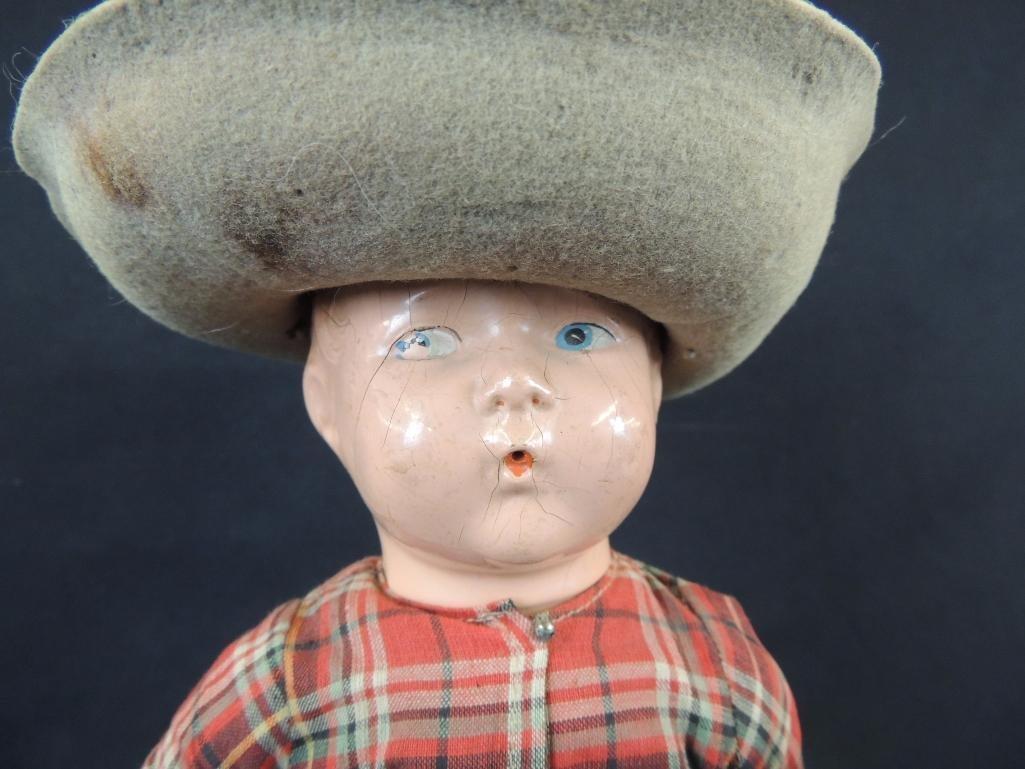 Antique Whistler Composition Cowboy Doll - 2