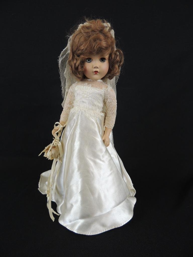 Vintage Bride Doll with White Dress and Flowers
