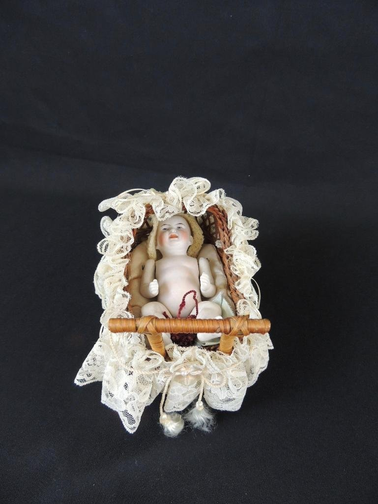 """Antique 6"""" All Bisque Character Baby with Wicker - 3"""