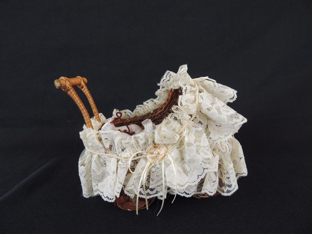 """Antique 6"""" All Bisque Character Baby with Wicker - 4"""