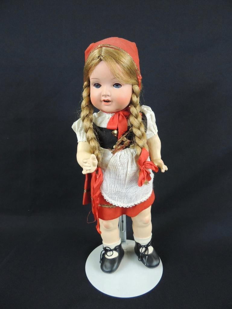 "Antique 16"" Doll with Red and Black clothes"