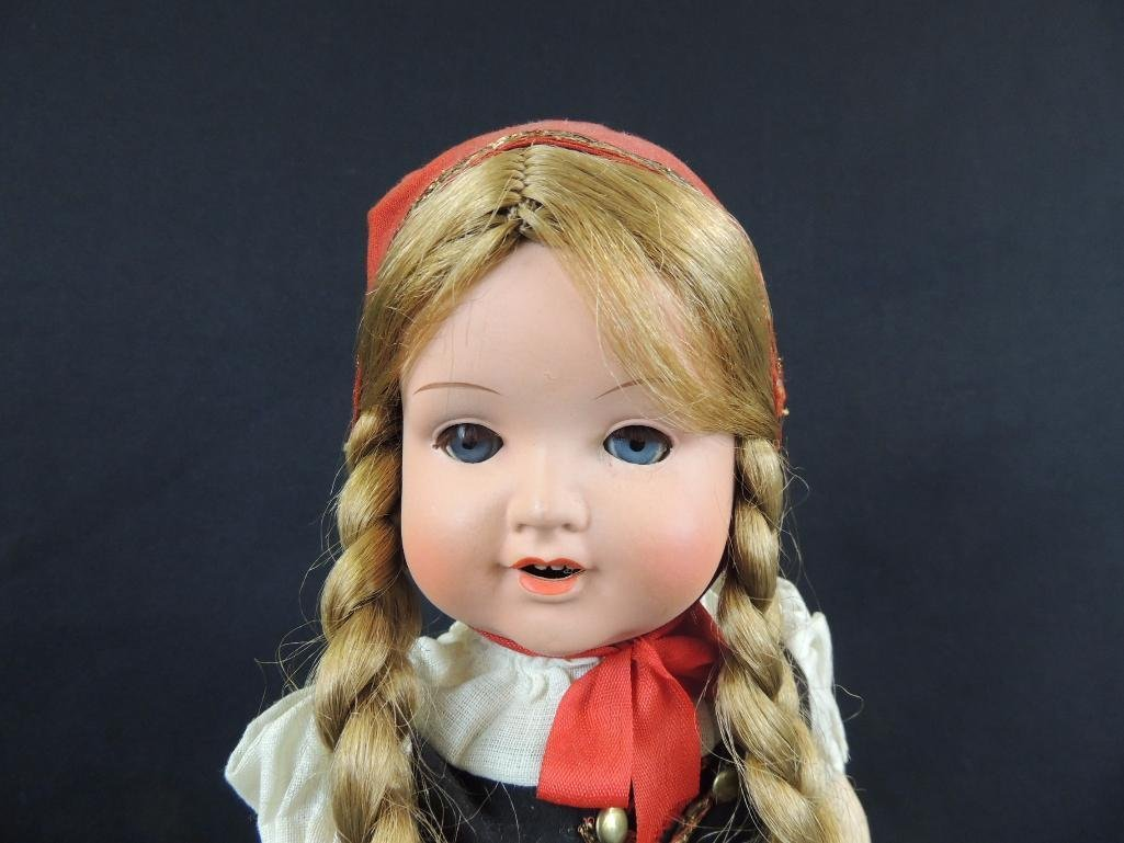 "Antique 16"" Doll with Red and Black clothes - 2"