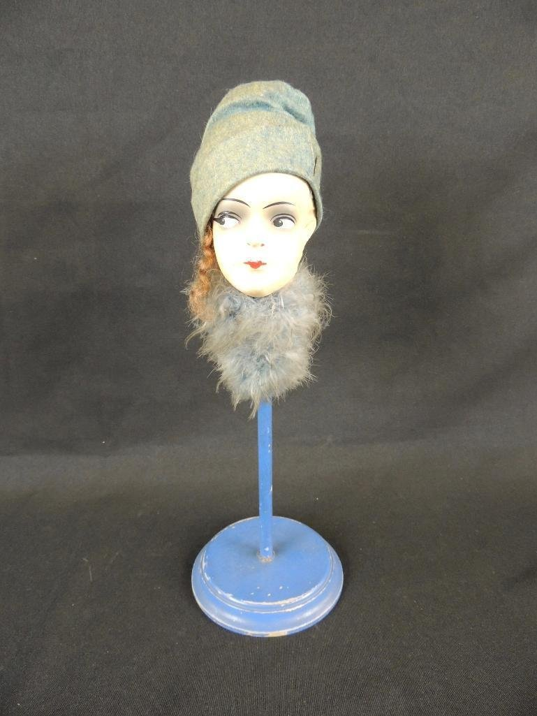 Antique Paper Mache Doll Head on Blue Display