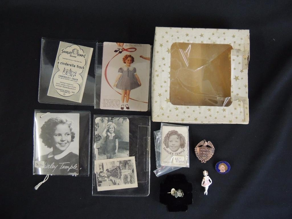Group of 10 Antique Shirley Temple Tags, Pins, and Box