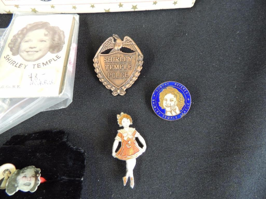 Group of 10 Antique Shirley Temple Tags, Pins, and Box - 3