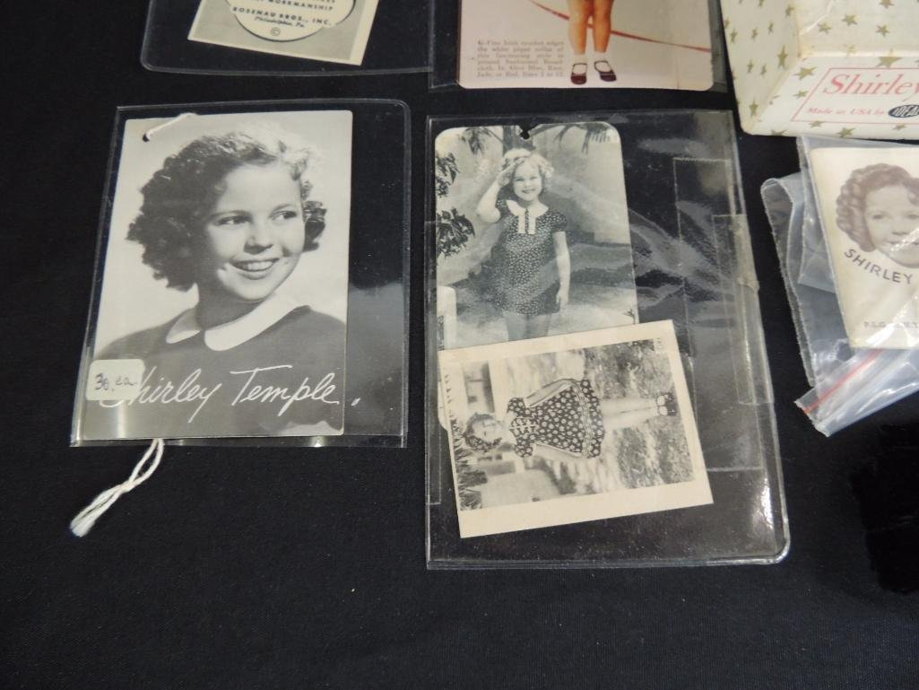 Group of 10 Antique Shirley Temple Tags, Pins, and Box - 4