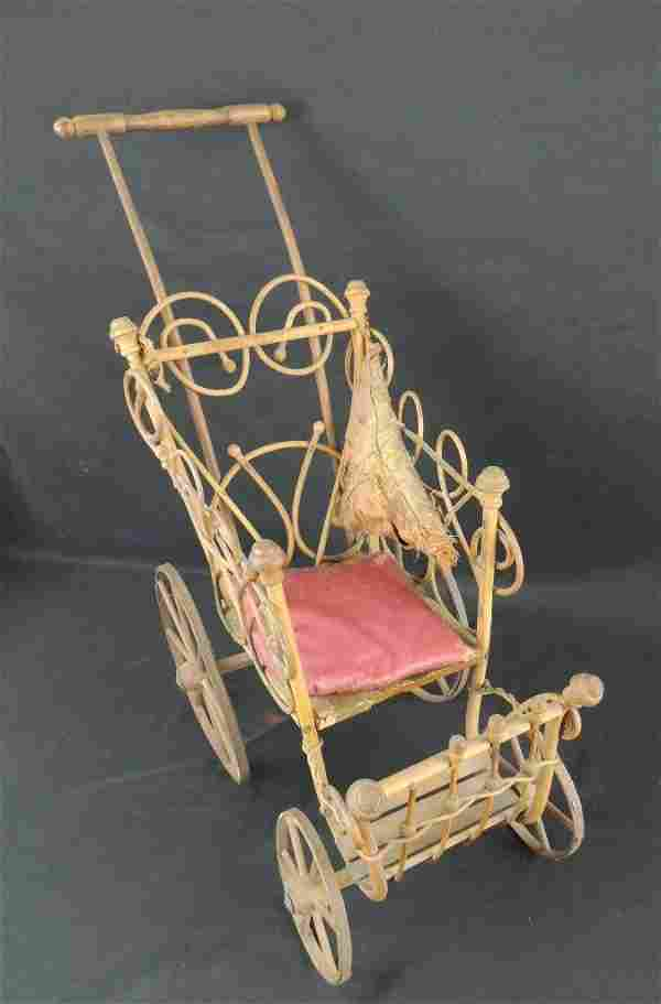 Antique Doll Bend Wood Stroller