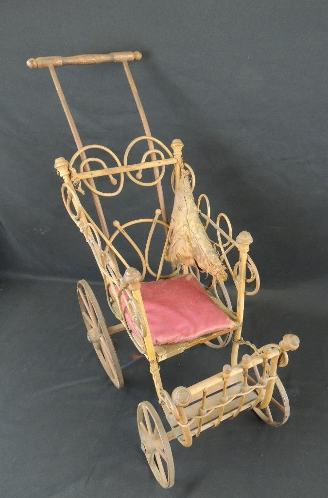 Antique Doll Bend Wood Stroller