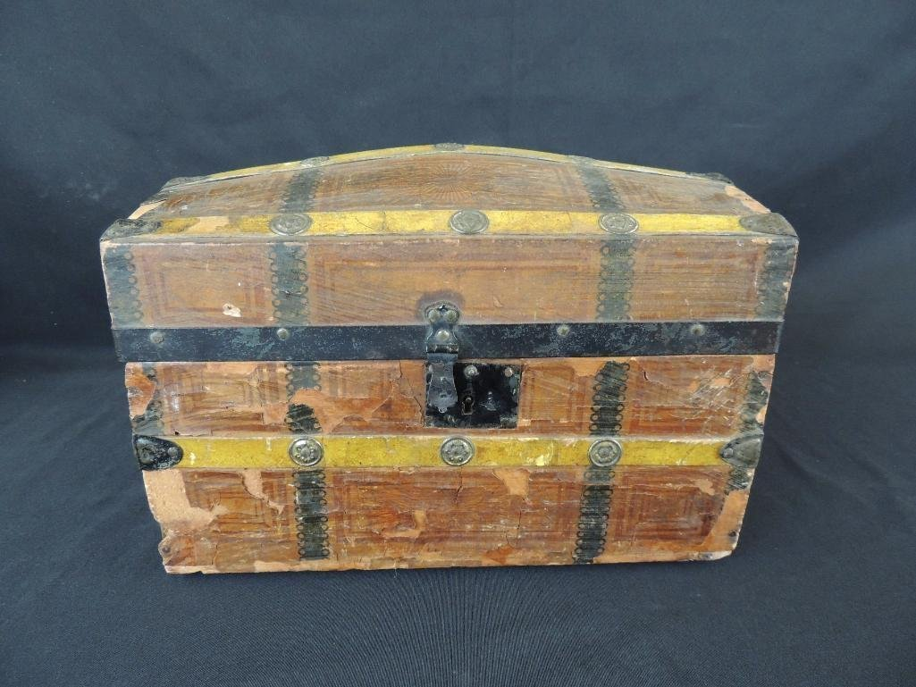 Antique Doll Wallpapered Dome Top Steamer Truck