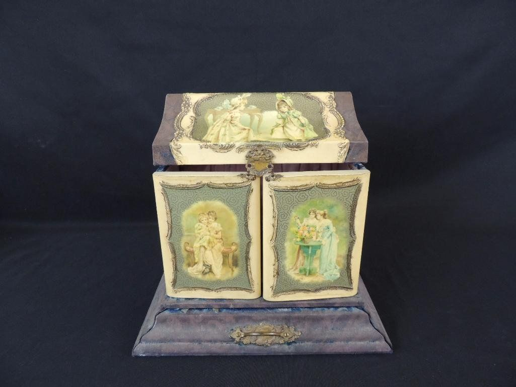Antique Silk Lined Doll Dresser Box with Brush and More