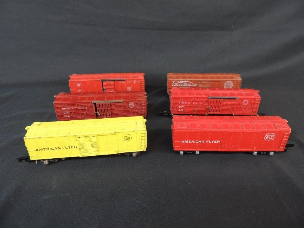 Group of 6 Vintage American Flyer Box Cars Featuring