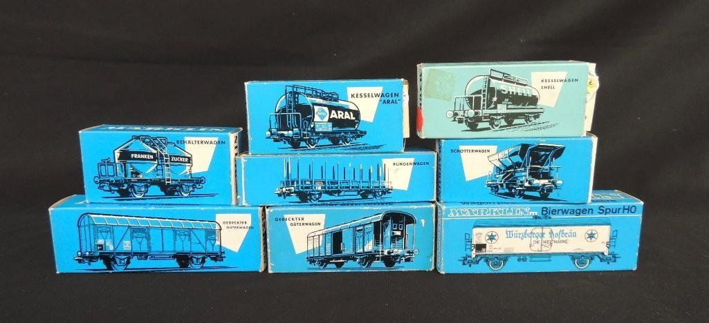 Group of 8 Vintage Marklin Train Cars Featuring