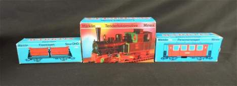 Group of 3 Vintage Marklin Locomotive and Train Cars
