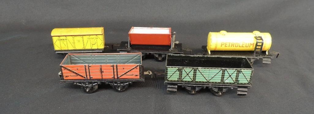 Pre War German Made Tin Litho Train Cars and Tankers