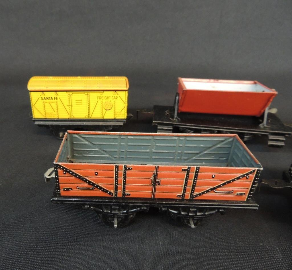 Pre War German Made Tin Litho Train Cars and Tankers - 3