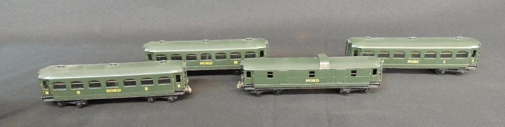 Group of 4 Vintage French Trix Nord Coach Cars