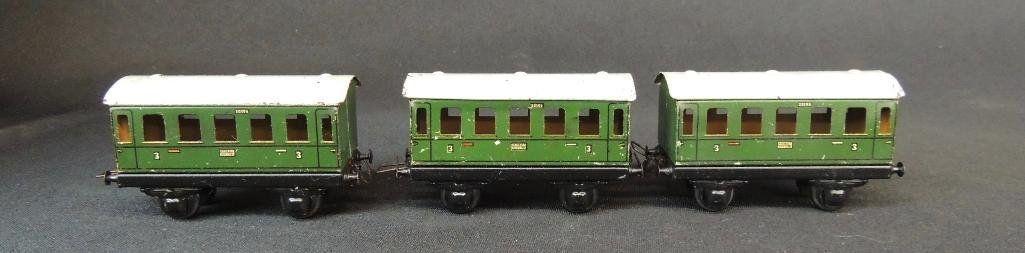Pre War German Trix 3 Car Set of Coach Cars