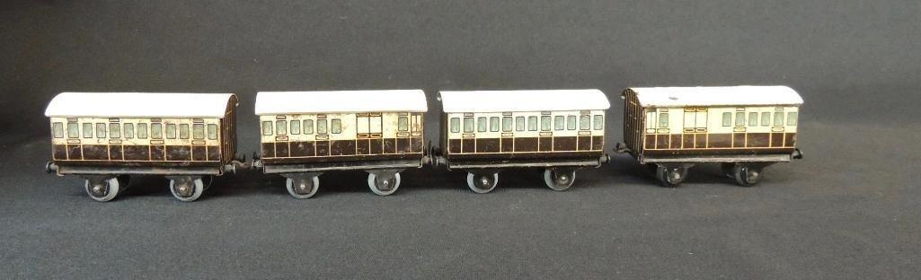 Pre War German Bing 4 Car Set of LNWR Coach Cars