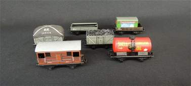 Group of 6 British Trix Train Cars Featuring Shell