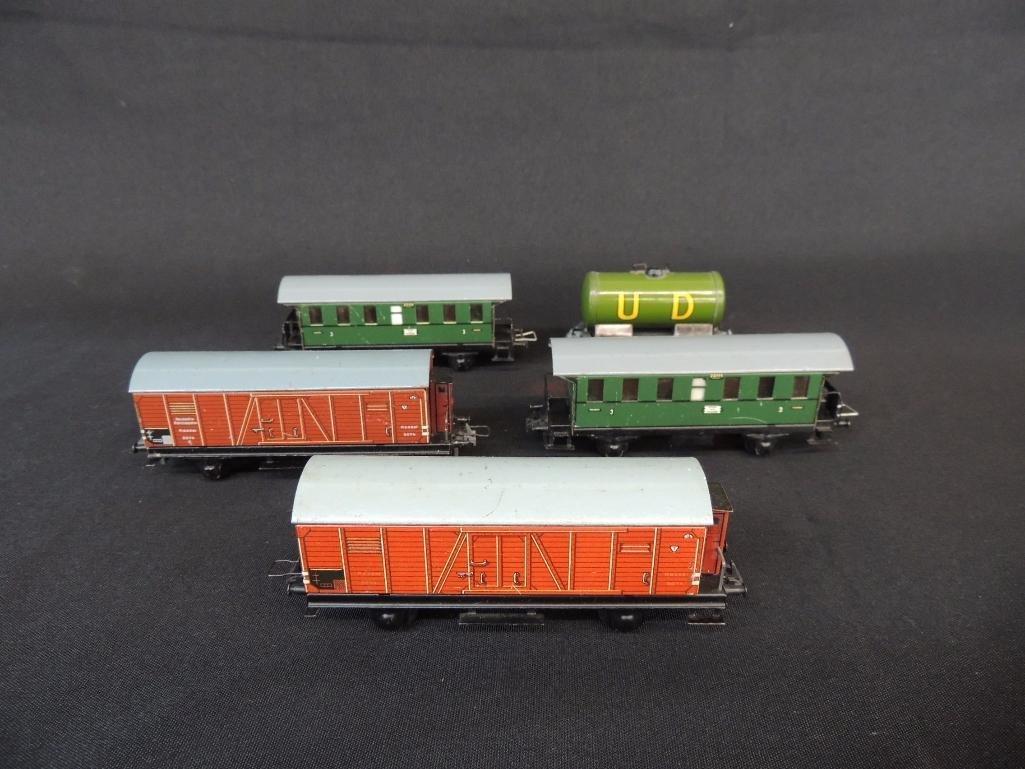 Group of 5 Vintage German Trix Train Cars
