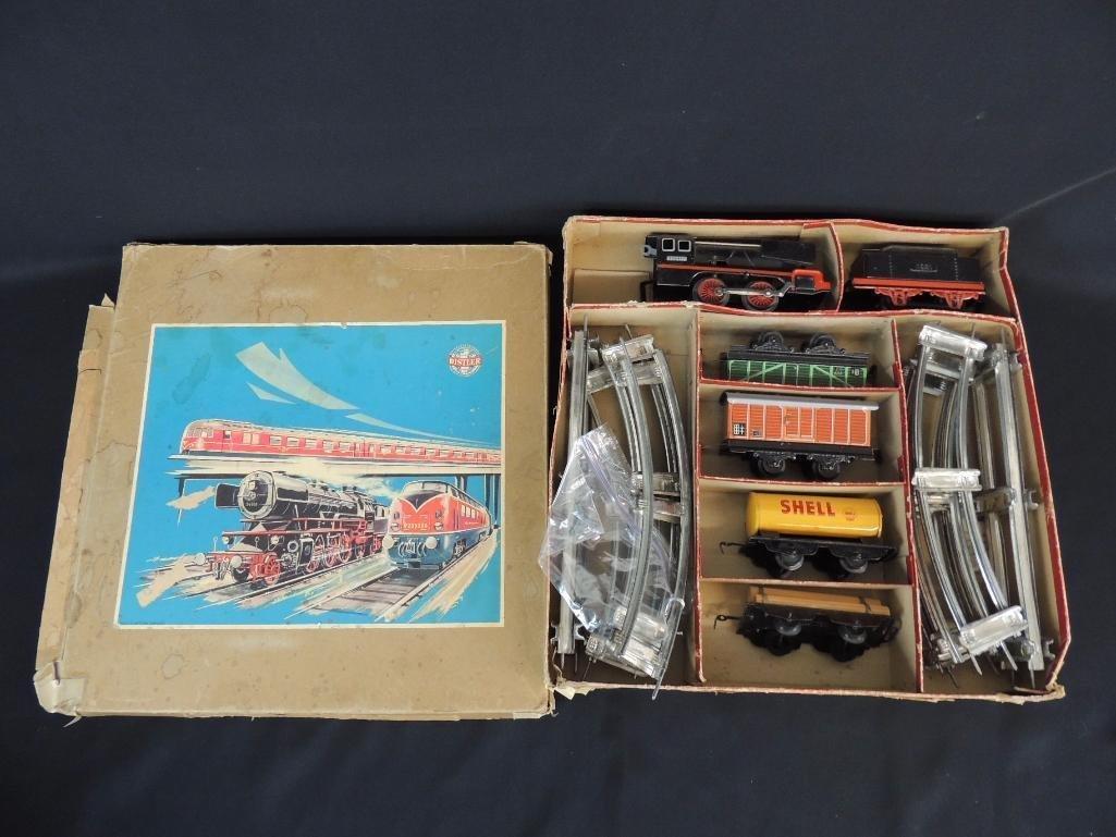Vintage German Clockwork Wind-Up Freight Train Set with