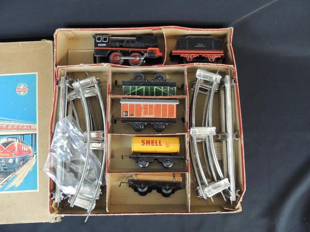 Vintage German Clockwork Wind-Up Freight Train Set with - 2