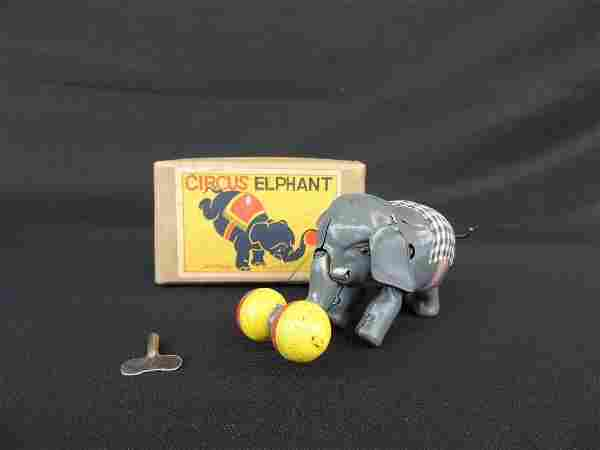 Vintage Japanese Wind-Up Circus Elephant with Original