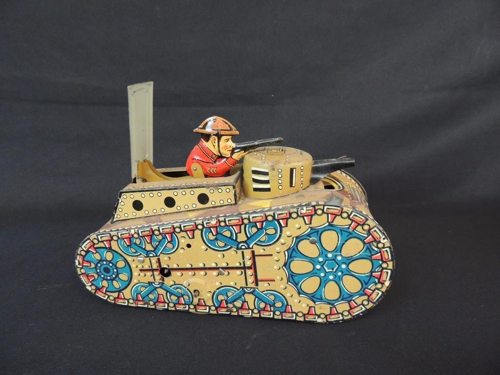 Vintage Marx Toys U.S. Wind-Up Metal Tank Toy Featuring
